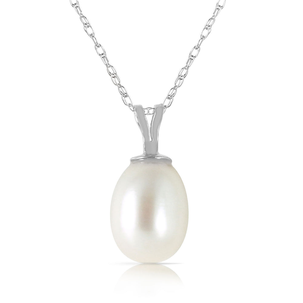 4 Carat 14K Solid White Gold Perseverance Pays pearl Necklace