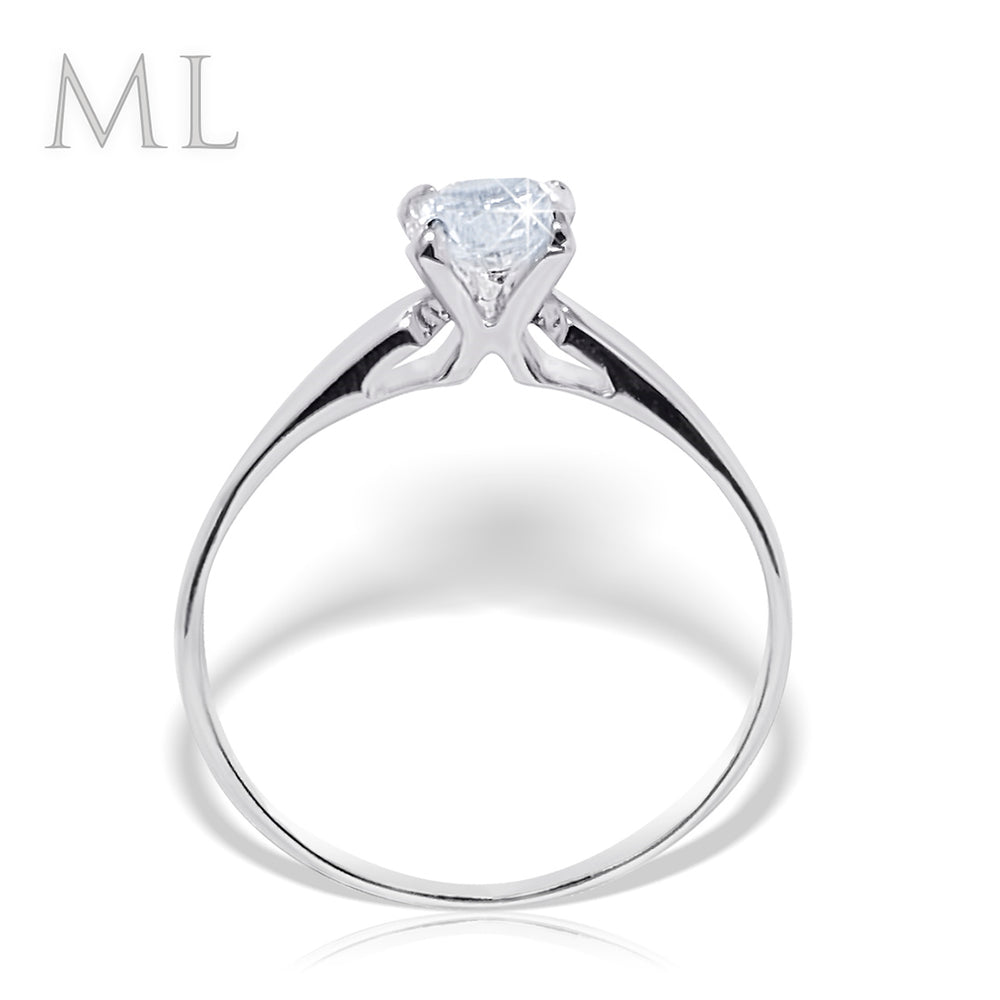 Women's 0.65 CT Solitaire Engagement Ring ROUND CUT White Gold Plated Size 6-9