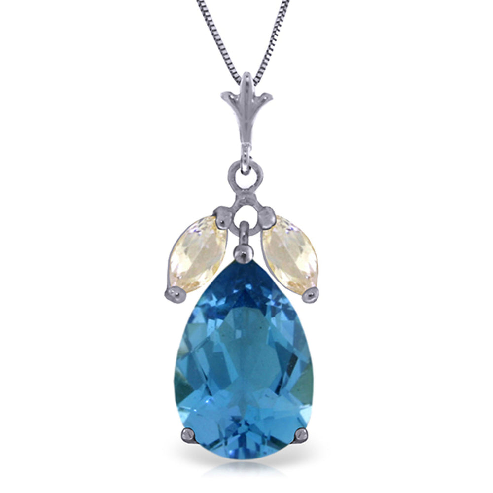 6.5 Carat 14K Solid White Gold Necklace Blue Topaz White Topaz