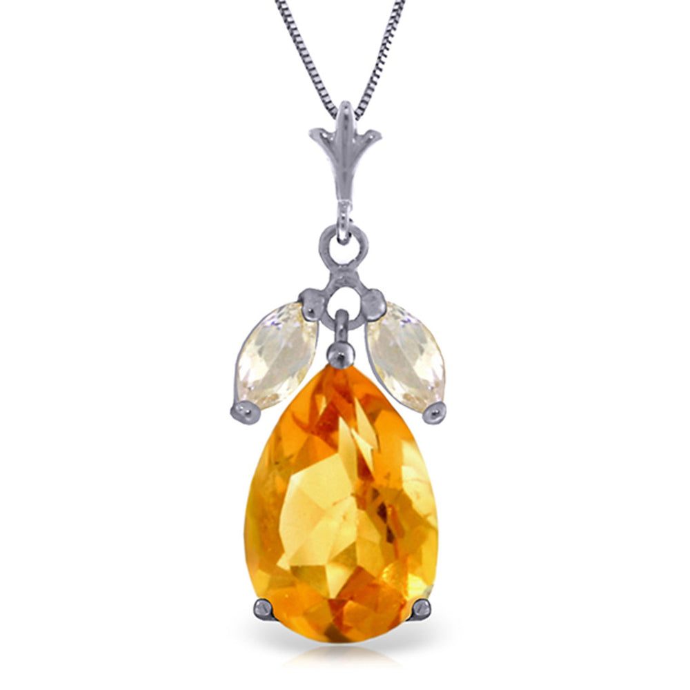 6.5 Carat 14K Solid White Gold Necklace Citrine White Topaz
