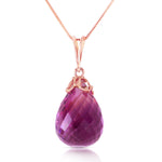 7 CTW 14K Solid Rose Gold Raindrop Amethyst Necklace