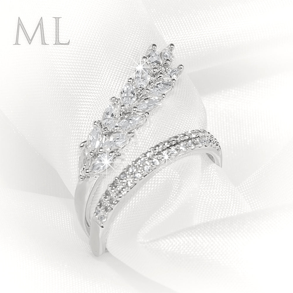 Wedding Anniversary RING Bridal Marquise CUT Plated Fashion Band SIZE 6-9