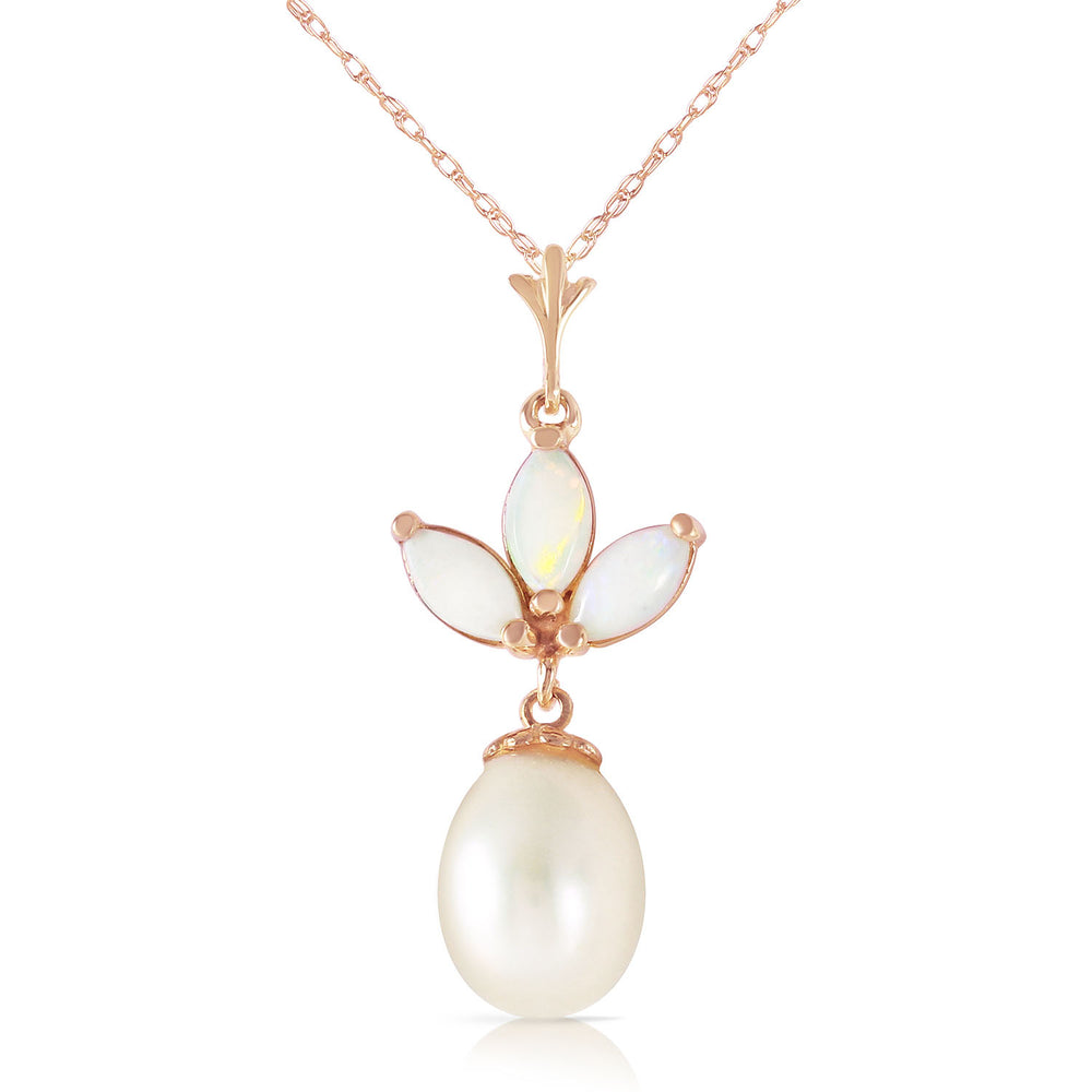 14K Solid Rose Gold Necklace with pearl & Opals