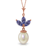 14K Solid Rose Gold Necklace with pearl & Tanzanites