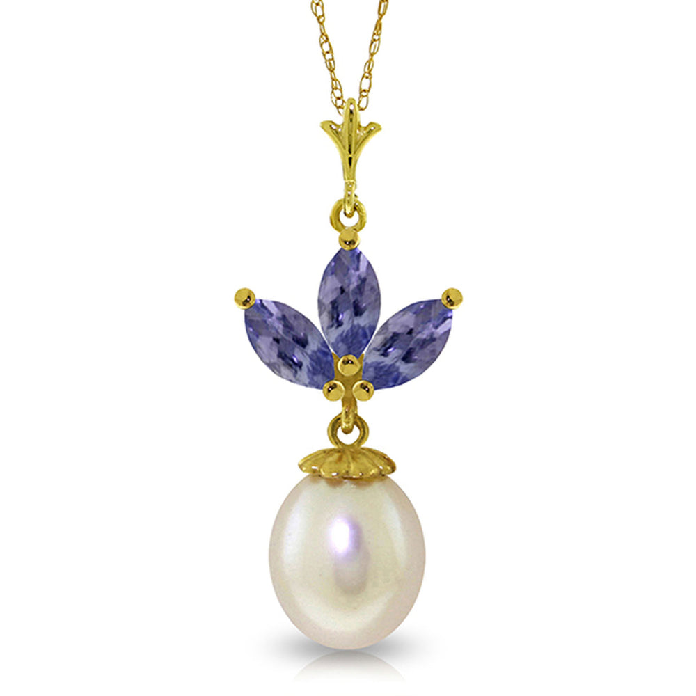 4.75 Carat 14K Solid Gold Necklace pearl Tanzanite