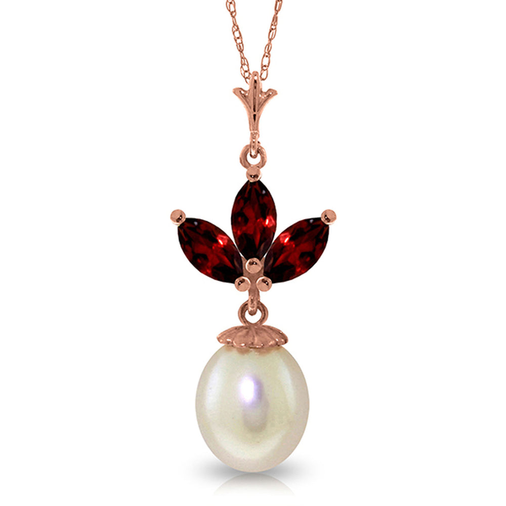 14K Solid Rose Gold Necklace with pearl & Garnets