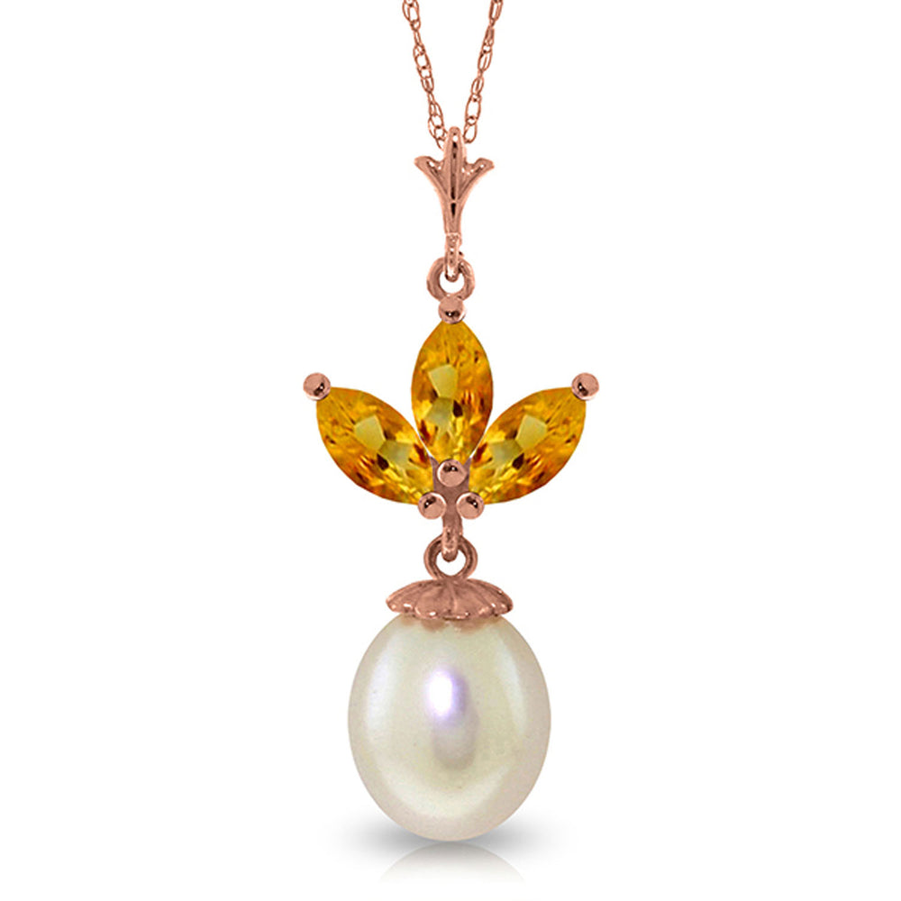 14K Solid Rose Gold Necklace with pearl & Citrines