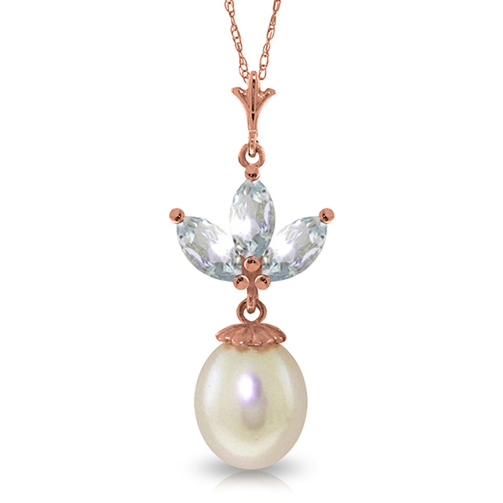 14K Solid Rose Gold Necklace with pearl & Aquamarines