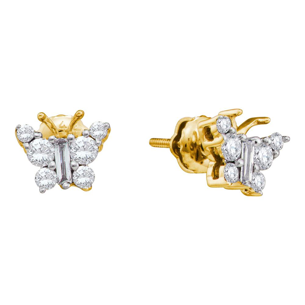 14kt Yellow Gold Womens Baguette Diamond Butterfly Bug Earrings 1/2 Cttw