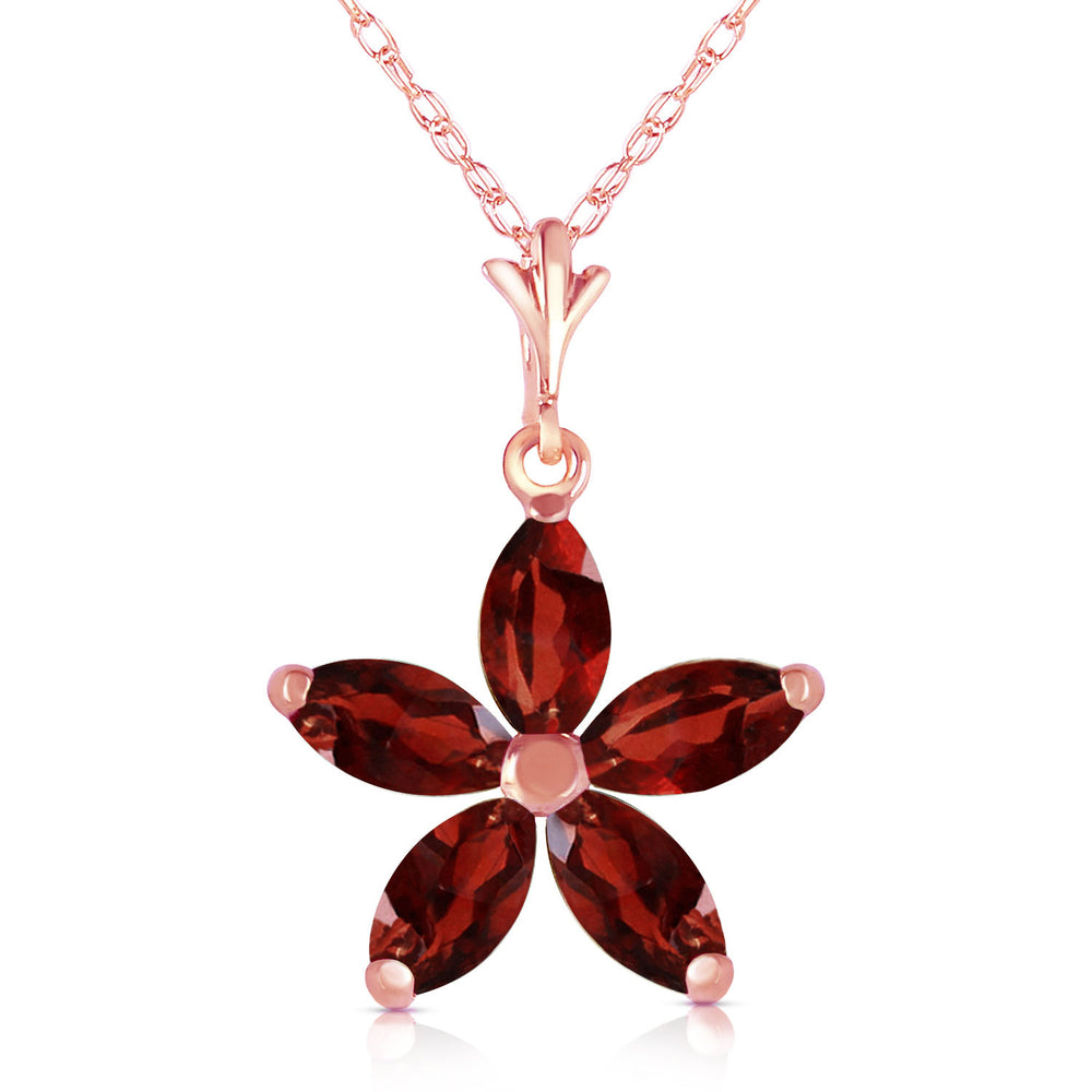 14K Solid Rose Gold Necklace with Natural Garnets