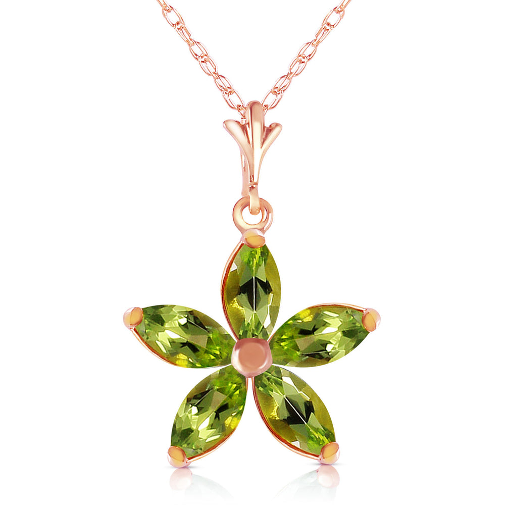 14K Solid Rose Gold Necklace with Natural Peridots