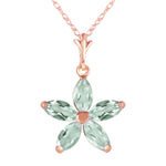 14K Solid Rose Gold Necklace with Natural Green Amethysts