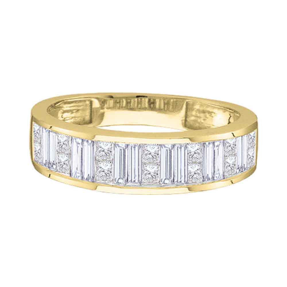 14kt Yellow Gold Womens Princess Baguette Diamond Wedding Band 1/4 Cttw - Size 5