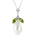 4.5 CTW 14K Solid White Gold Here Is Hope Peridot pearl Necklace