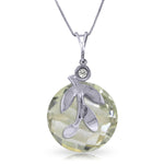5.32 Carat 14K Solid White Gold Necklace Natural Green Amethyst Diamond