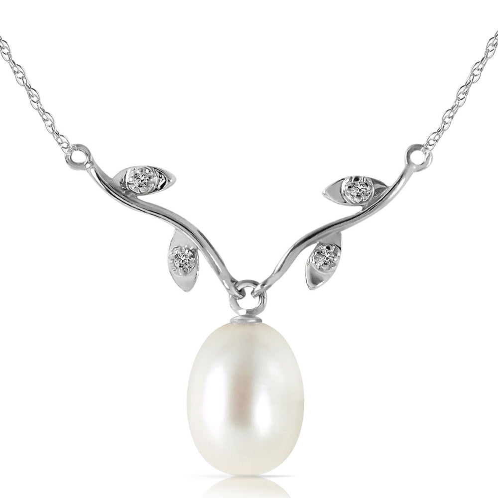 4.02 Carat 14K Solid White Gold Better Believe pearl Diamond Necklace