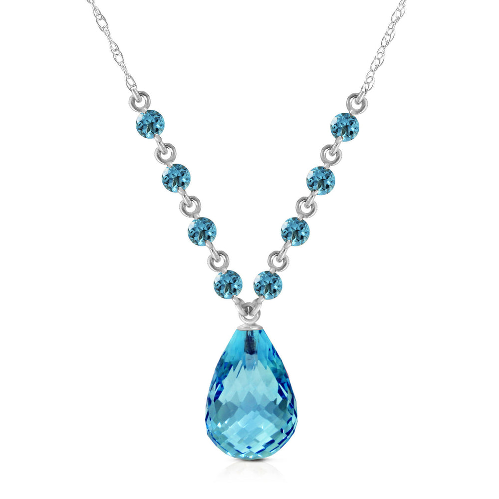 11.5 Carat 14K Solid White Gold Midstream Blue Topaz Necklace