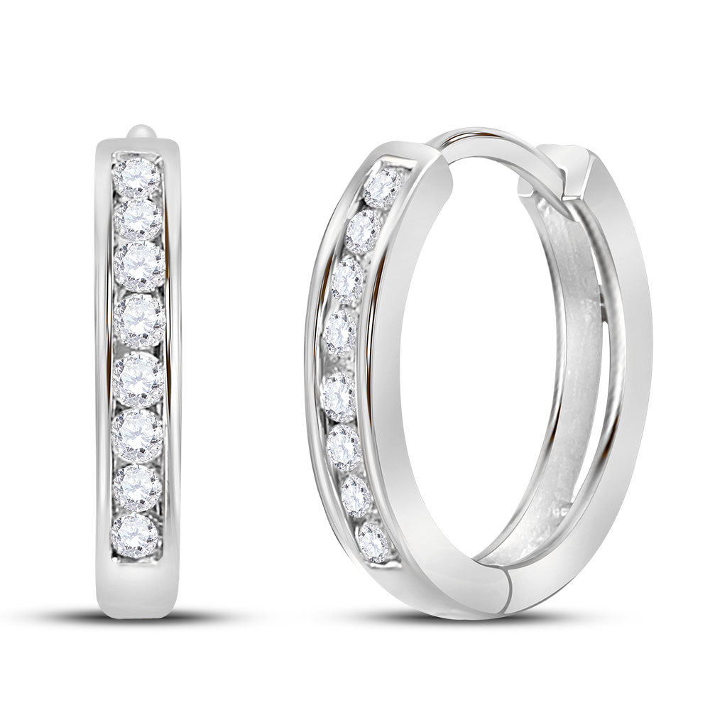 14kt White Gold Womens Round Diamond Hoop Earrings 1/4 Cttw