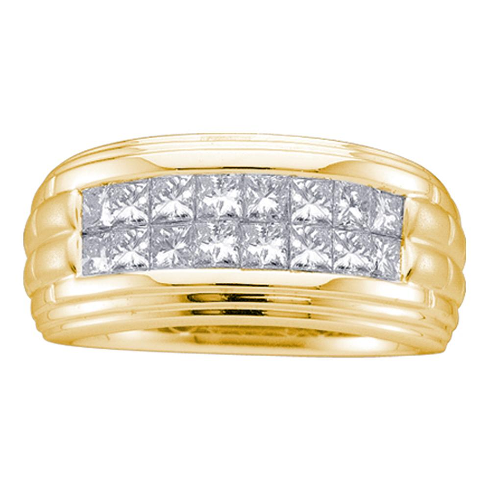 14kt Yellow Gold Mens Princess Diamond Double Row Wedding Band Ring 1/2 Cttw