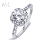 1.5 Carat CT Engagement RING ROUND CUT Halo White Gold Plated SIZE 5-10