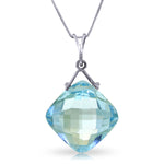 8.75 Carat 14K Solid White Gold Competence Blue Topaz Necklace