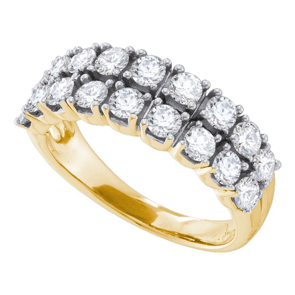 14kt Yellow Gold Womens Round Diamond 2-row Fashion Band Ring 1-1/2 Cttw