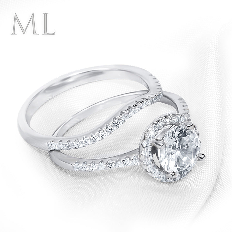 1.50 CT Women's Engagement RING Wedding Set ROUND CUT Silver Plated