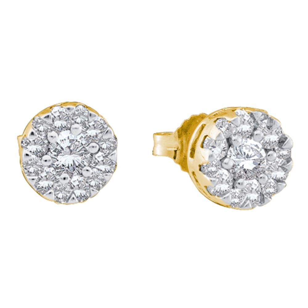 14kt Yellow Gold Womens Round Diamond Flower Cluster Screwback Stud Earrings 1/2 Cttw