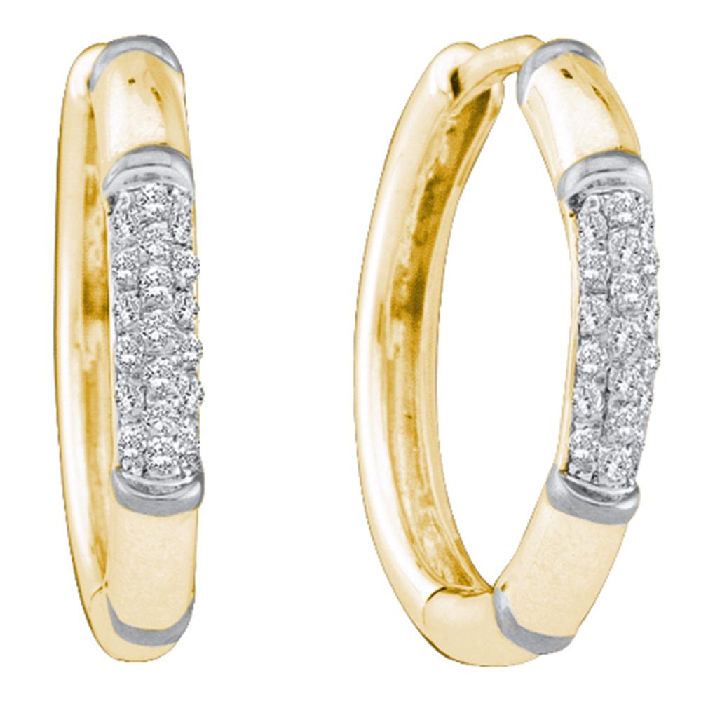 14kt Yellow Gold Womens Round Diamond Cluster Hoop Earrings 1/6 Cttw