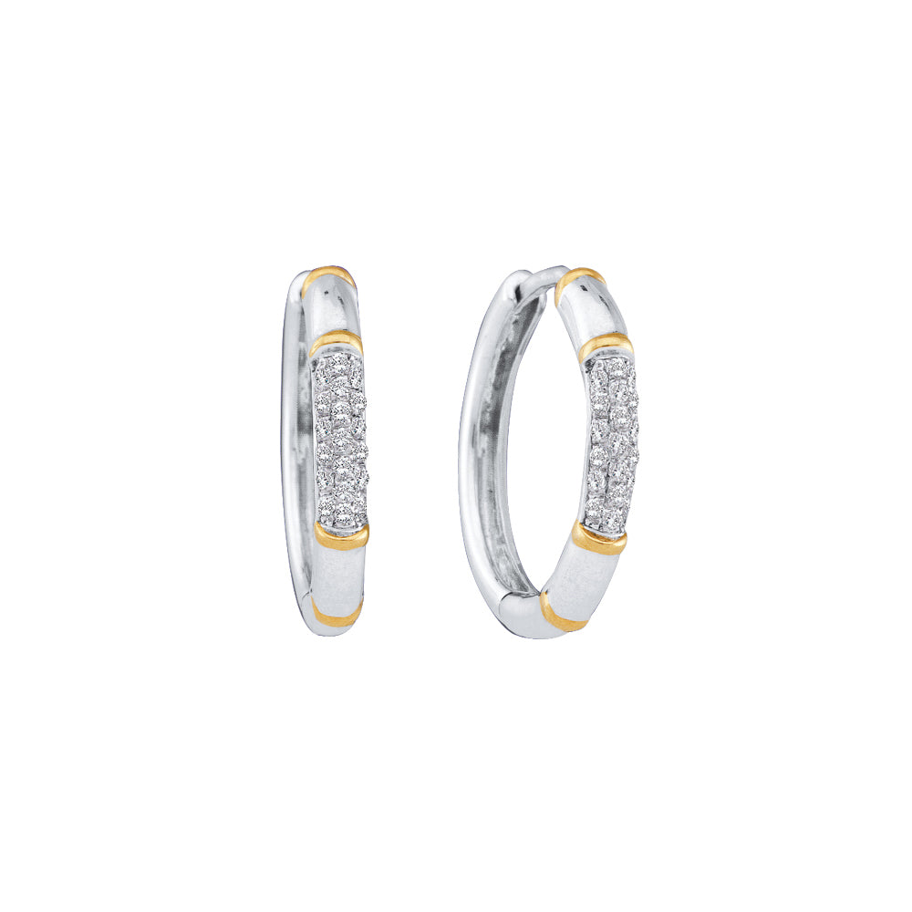 14kt White Gold Womens Round Diamond Two-tone Cluster Hoop Earrings 1/6 Cttw
