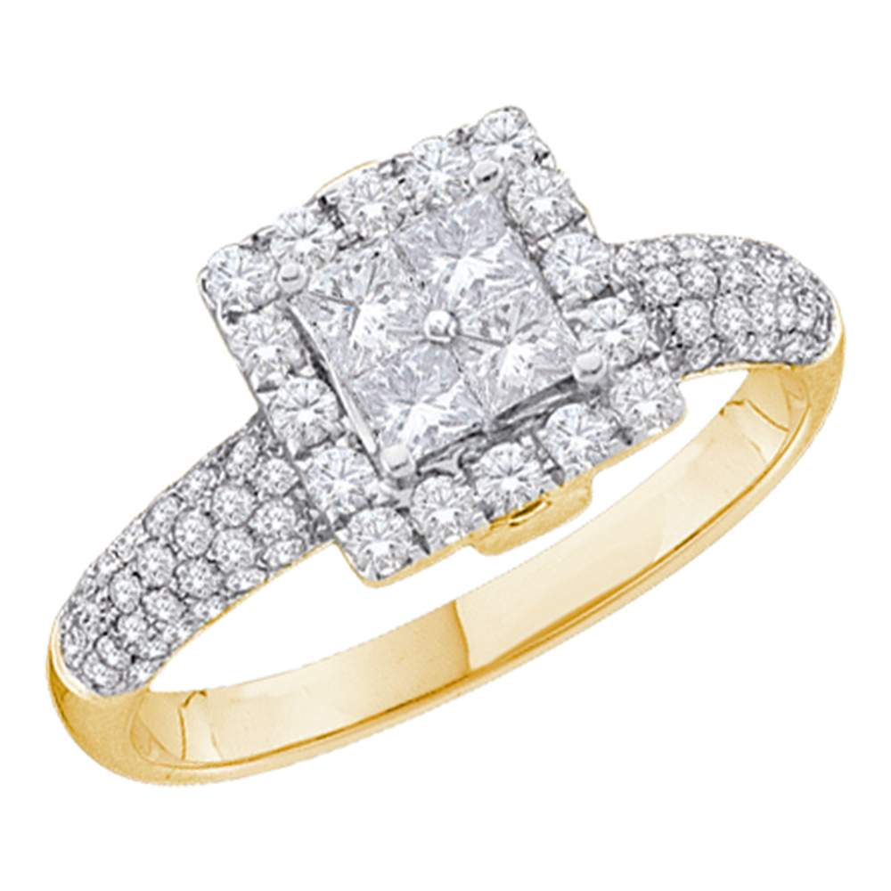 14kt Yellow Gold Womens Princess Diamond Cluster Halo Bridal Wedding Engagement Ring 1.00 Cttw