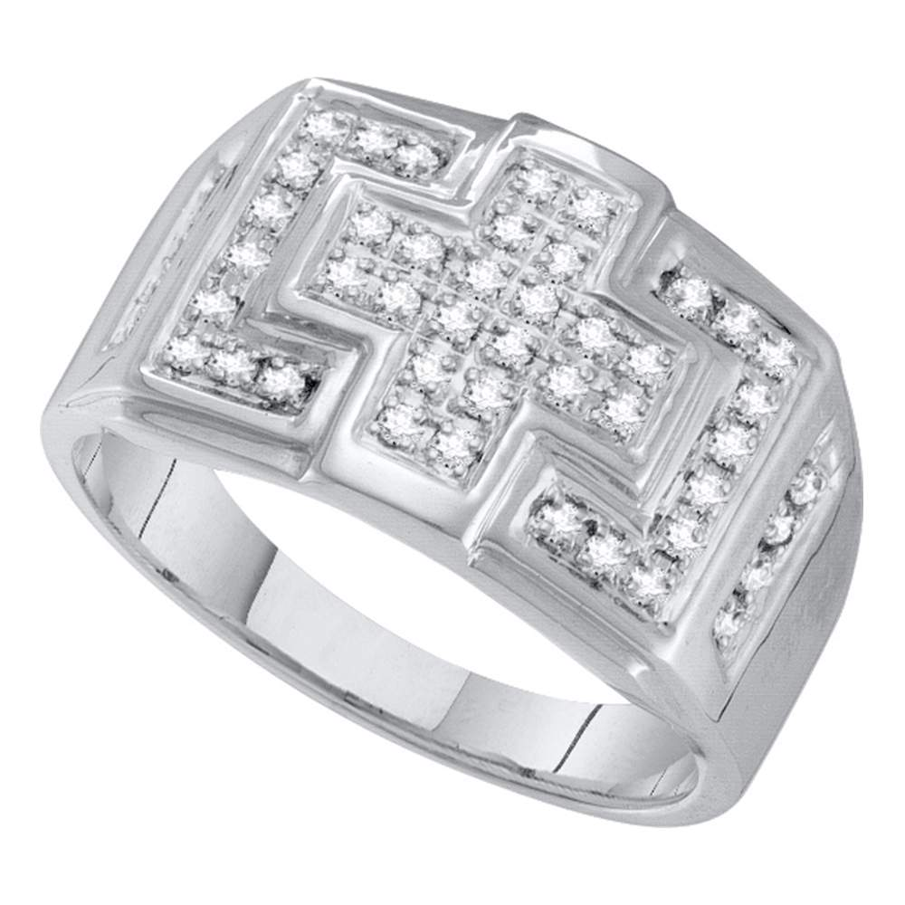 10kt White Gold Mens Round Diamond Square Cross Cluster Ring 1/3 Cttw