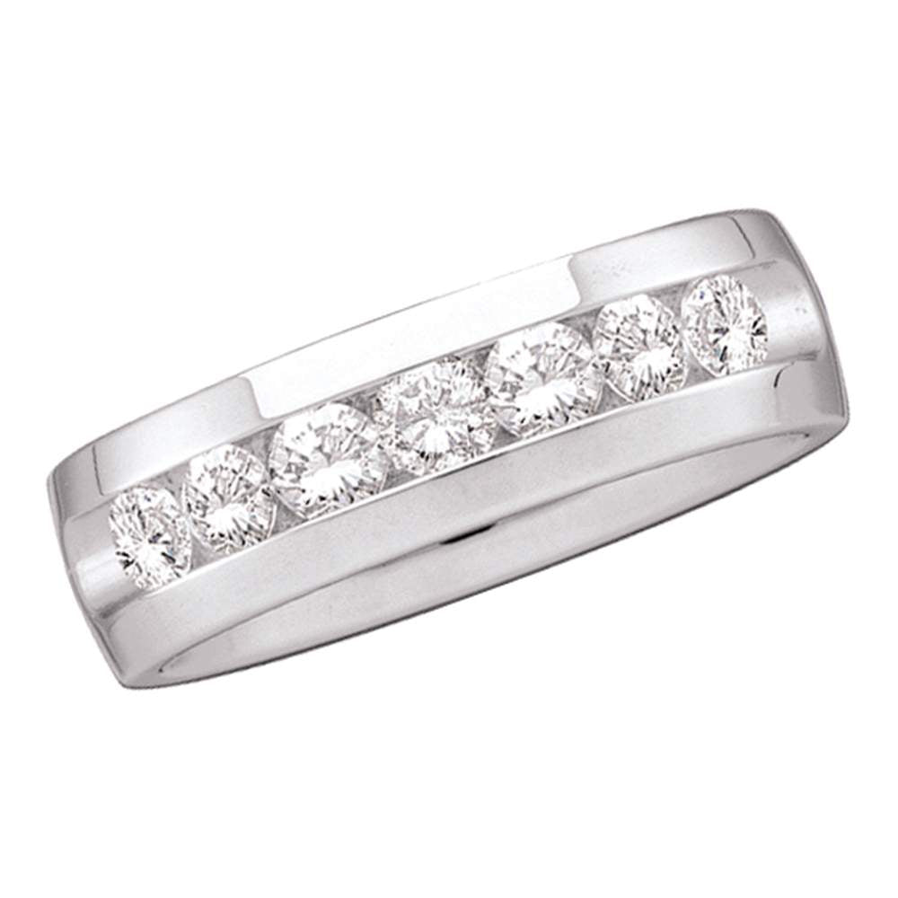 14kt White Gold Mens Round Channel-set Diamond Wedding Band Ring 1/4 Cttw