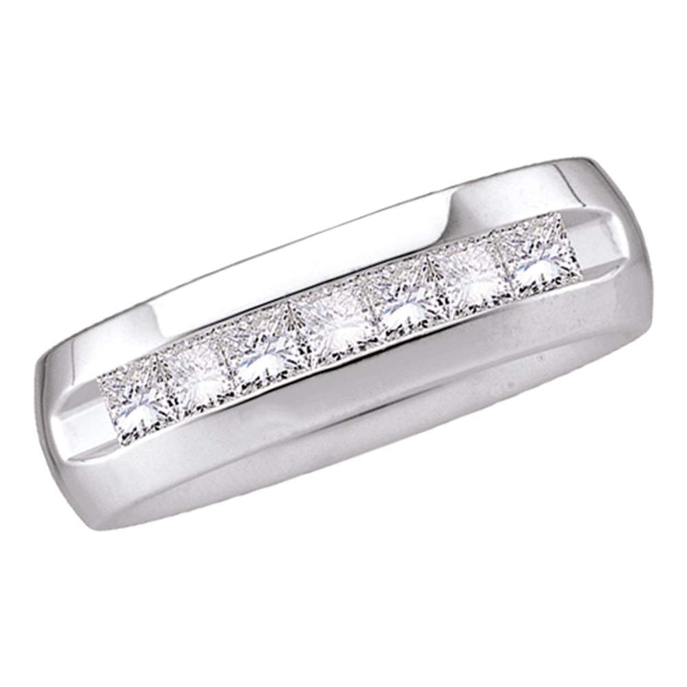 14kt White Gold Mens Princess Diamond Wedding Band Ring 1-1/2 Cttw