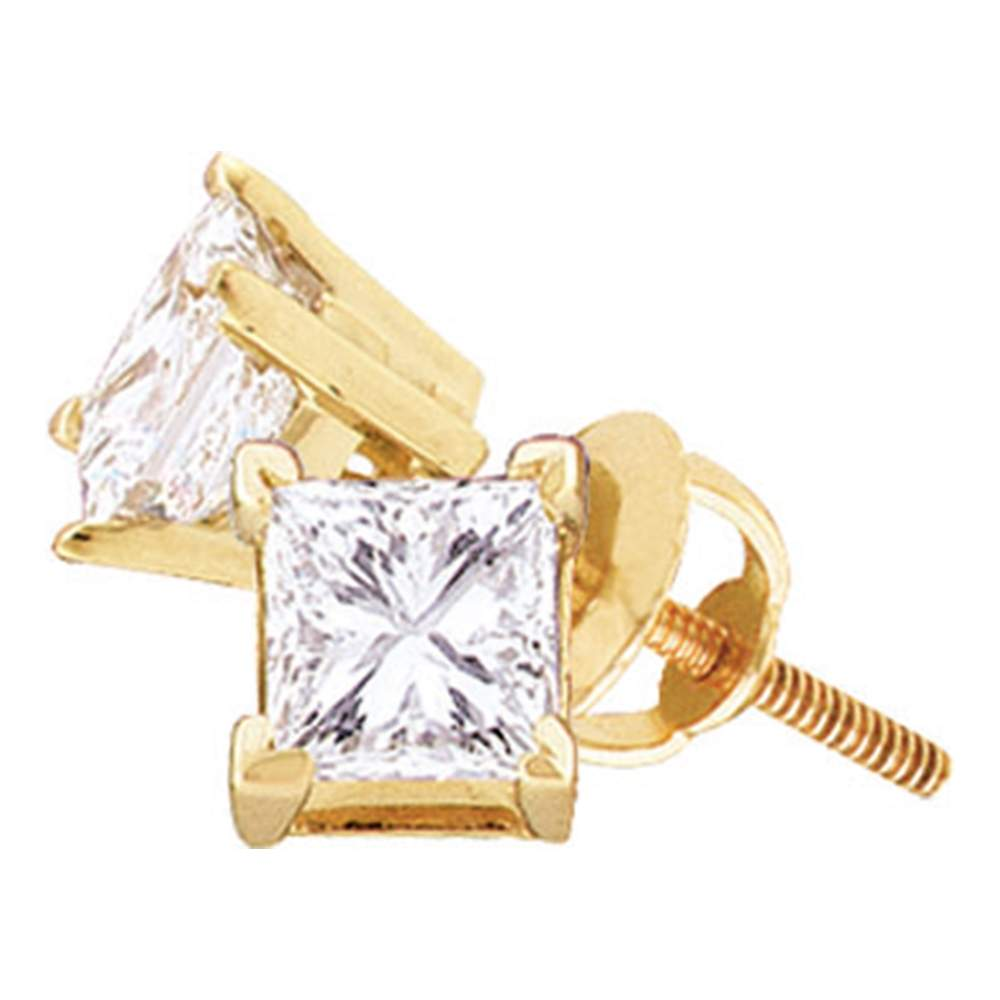 14kt Yellow Gold Unisex Princess Diamond Solitaire Stud Earrings 1/5 Cttw