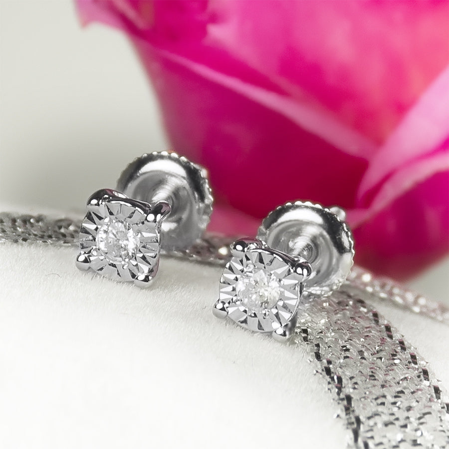 1/20 CT Women's Petite Round  Diamond Solitaire EARRINGS 10k White Gold 3.5mm