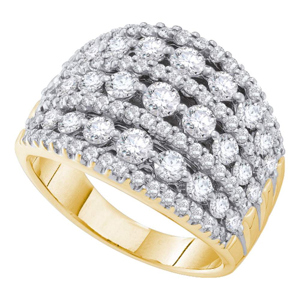 14kt Yellow Gold Womens Round Diamond Symmetrical Fashion Band Ring 2.00 Cttw