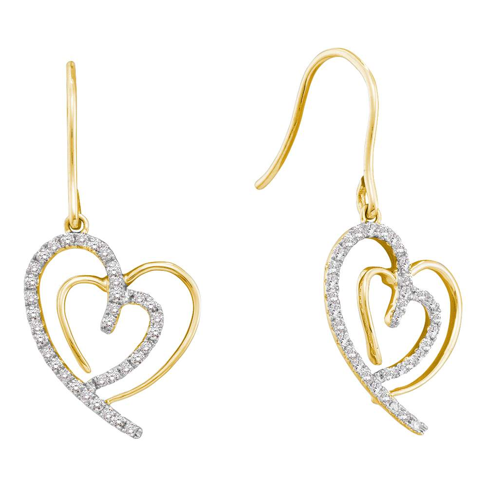 10kt Yellow Gold Womens Round Diamond Heart Love Dangle Wire Earrings 3/8 Cttw
