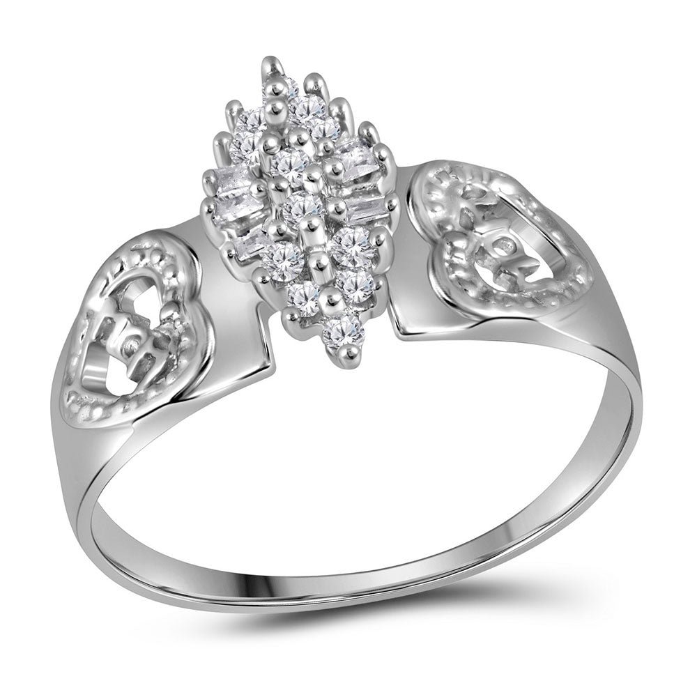 Sterling Silver Womens Round Diamond Heart Mom Cluster Ring 1/8 Cttw