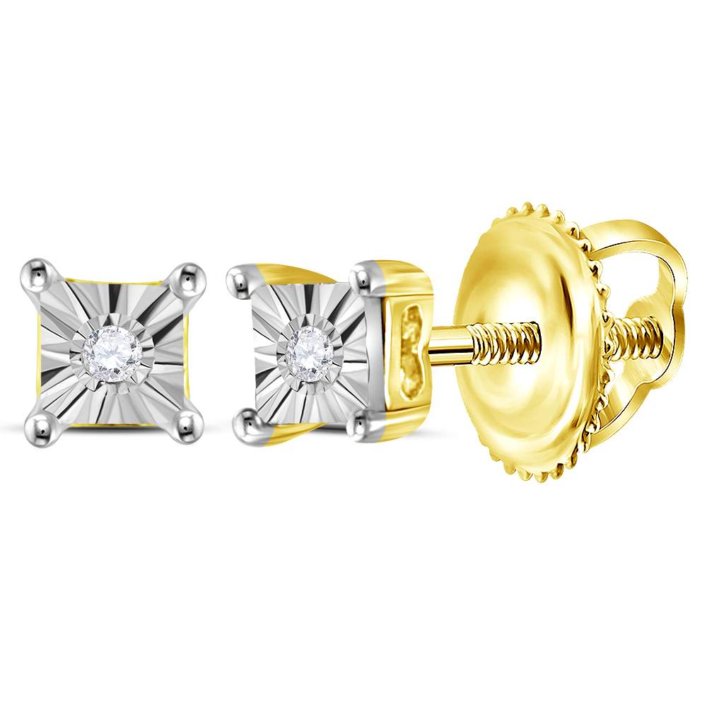 Yellow-tone Sterling Silver Womens Round Diamond Solitaire Earrings .01 Cttw