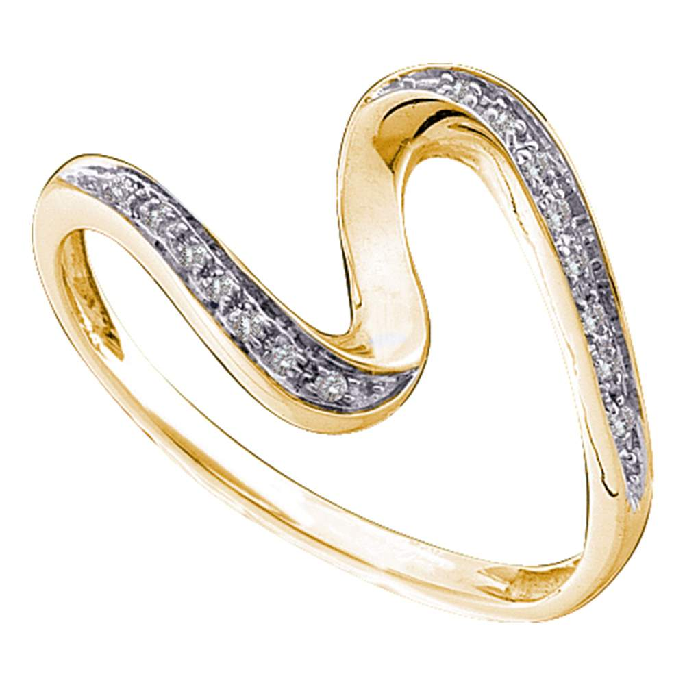 10kt Yellow Gold Womens Round Diamond S Curve Band Ring 1/20 Cttw