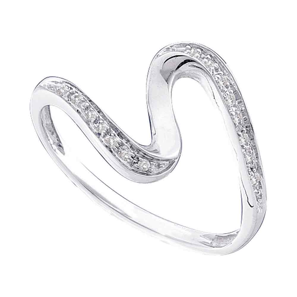 10kt White Gold Womens Round Diamond S Curve Band Ring 1/20 Cttw