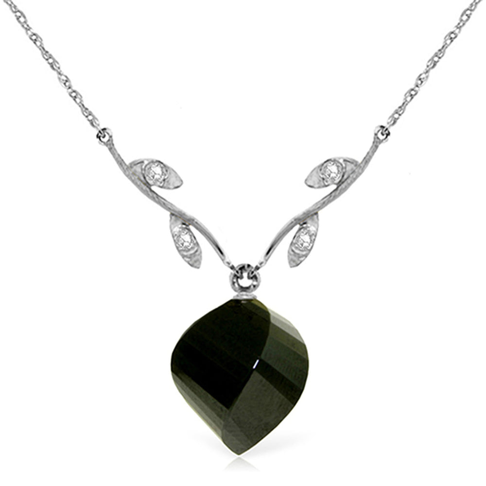 15.52 Carat 14K Solid White Gold Necklace Diamond Twisted Briolette Black Spinel