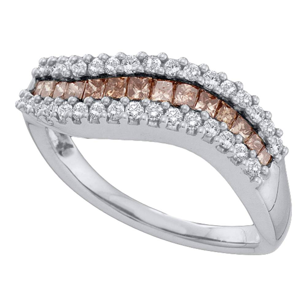 14kt White Gold Womens Princess Cognac-brown Color Enhanced Diamond Curved Band Ring 5/8 Cttw