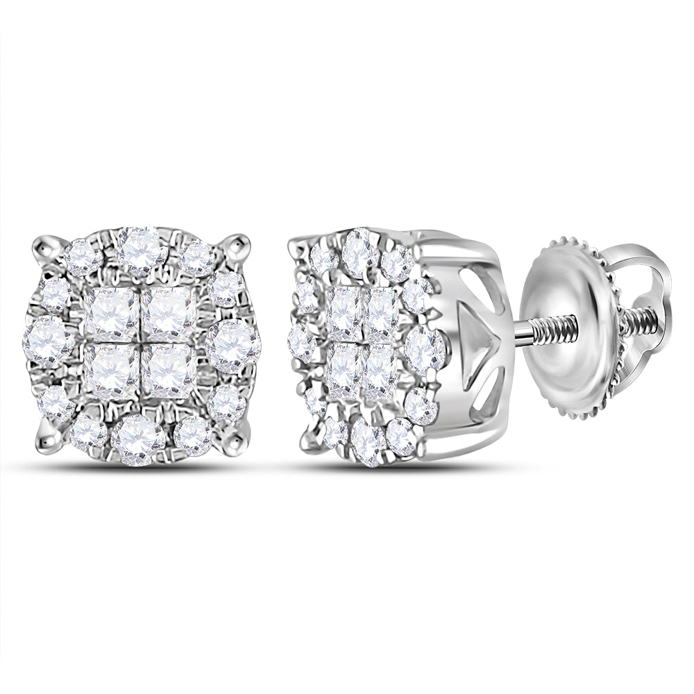 14kt White Gold Womens Princess Round Diamond Soleil Cluster Earrings 1/2 Cttw