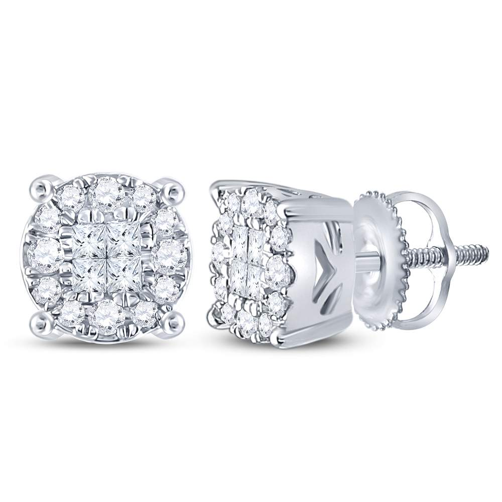 14kt White Gold Womens Princess Round Diamond Soleil Cluster Earrings 1/4 Cttw