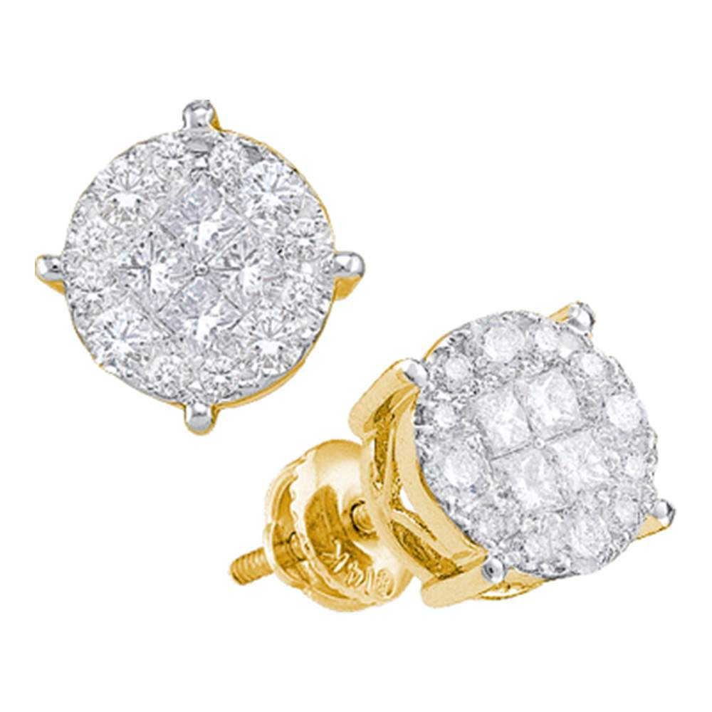 14kt Yellow Gold Womens Princess Round Diamond Soleil Cluster Earrings 1/2 Cttw