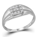 Sterling Silver Mens Round Diamond Square Cluster Ring 1/8 Cttw