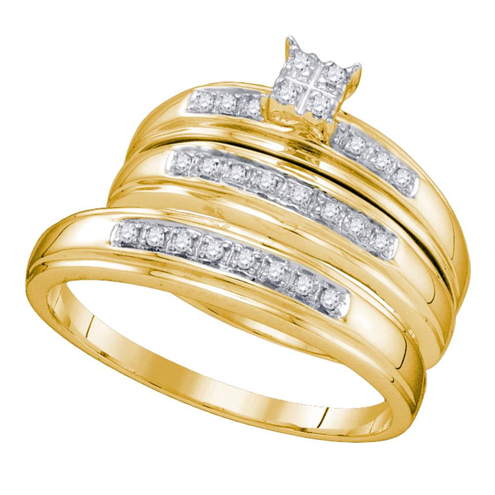 14kt Yellow Gold His & Hers Round Diamond Square Cluster Matching Bridal Wedding Ring Band Set 1/5 Cttw