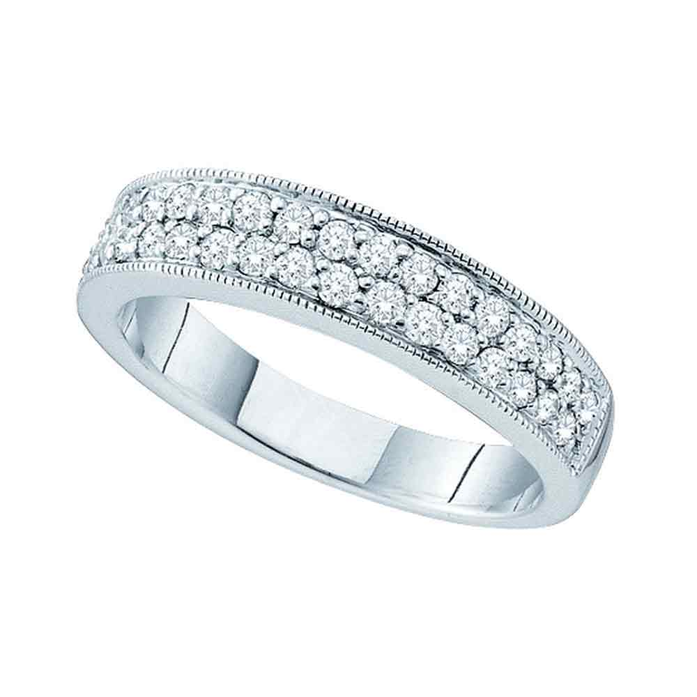 14kt White Gold Womens Round Diamond Double Row Milgrain Band Ring 1/2 Cttw